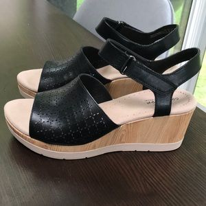 Collection by Clark's wedged black sandals